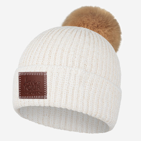White Speckled Lightweight Pom Beanie
