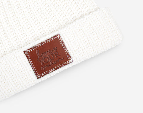 White Pom Beanie (White Pom)-Beanie-Love Your Melon