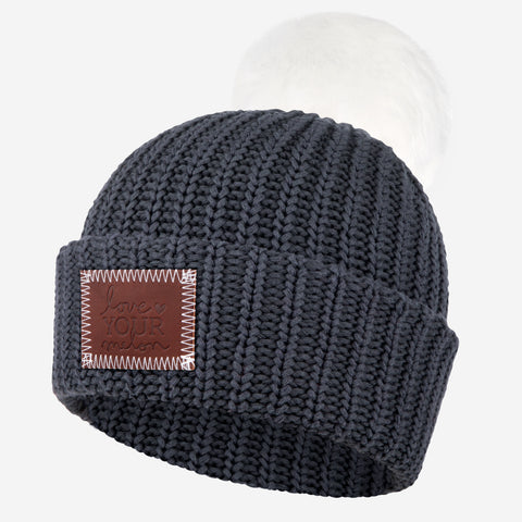 Dark Charcoal Pom Beanie (White Pom)-Beanie-Love Your Melon