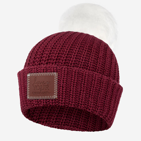 Burgundy Pom Beanie (White Pom)-Beanie-Love Your Melon