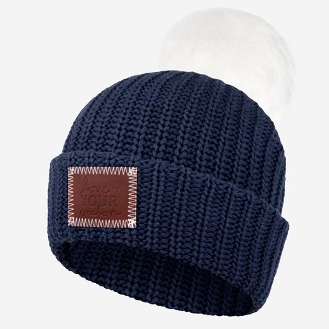 Navy Pom Beanie (White Pom)-Beanie-Love Your Melon