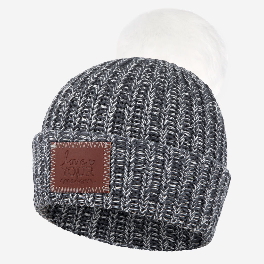f5776a8810f Love Your Melon Charcoal and White Speckled Pom Beanie (White Pom)