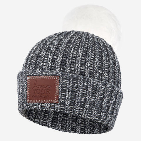 Charcoal and White Speckled Pom Beanie (White Pom)