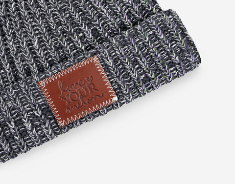 b5cf0720902 ... Charcoal and White Speckled Pom Beanie (White Pom)-Beanie-Love Your  Melon
