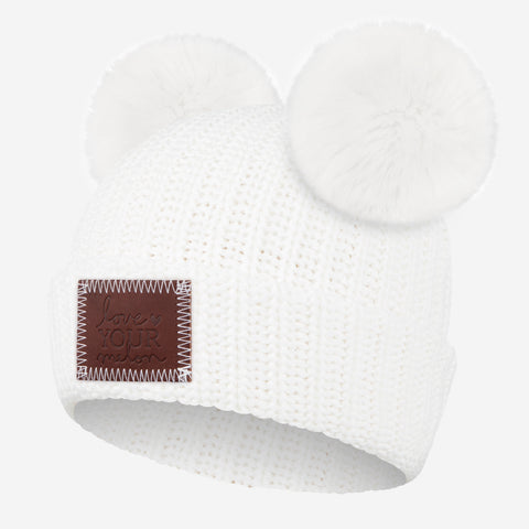 White Double Pom Beanie (White Poms)