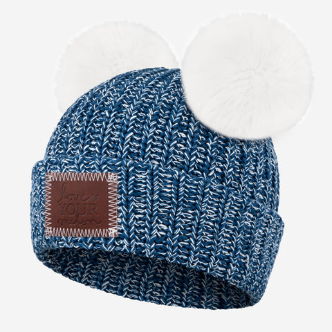 Summit Speckled Double Pom Beanie (White Poms)