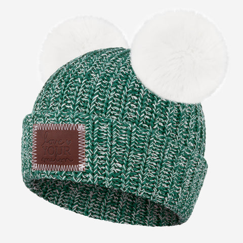 Hunter and White Speckled Double Pom Beanie (White Poms)