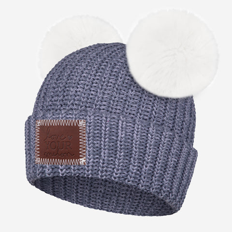 Slate and Light Purple Speckled Double Pom Beanie (White Poms)