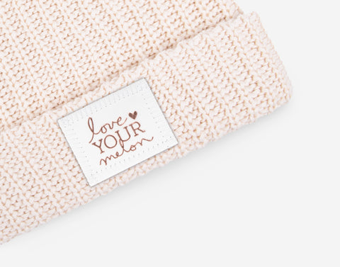 Blush Speckled Rose Foil Cuffed Beanie (White Leather Patch)-Love Your Melon