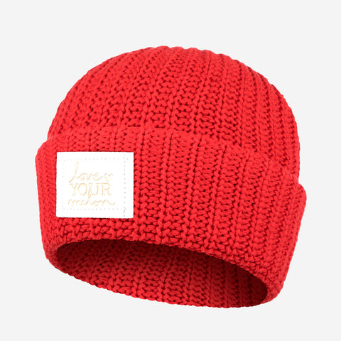 Red Cuffed Beanie (White Gold Foil Patch)