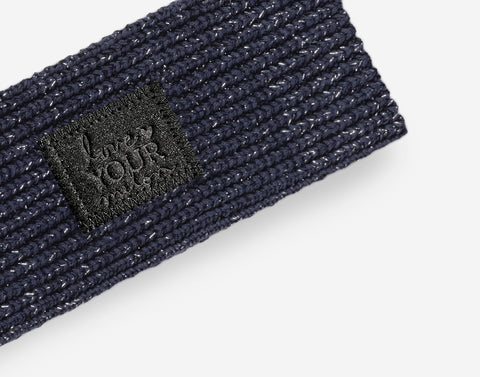Navy Silver Metallic Yarn Knit Headband (Black Diamond Patch)