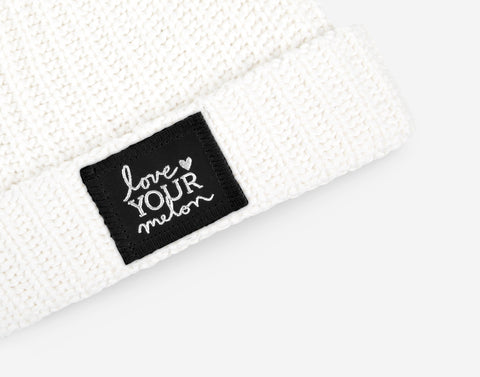 White Silver Foil Cuffed Beanie-Love Your Melon