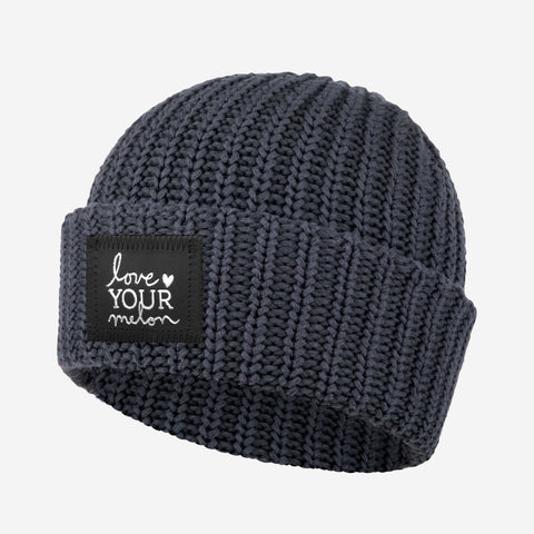 Dark Charcoal Silver Foil Cuffed Beanie-Beanie-Love Your Melon