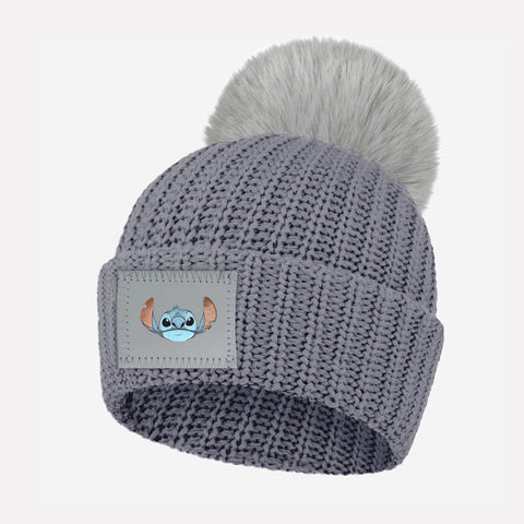 Stitch Kids Light Charcoal Pom Beanie