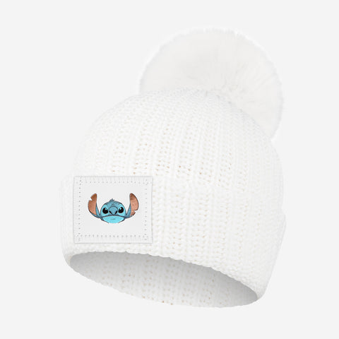 Stitch Kids White Pom Beanie