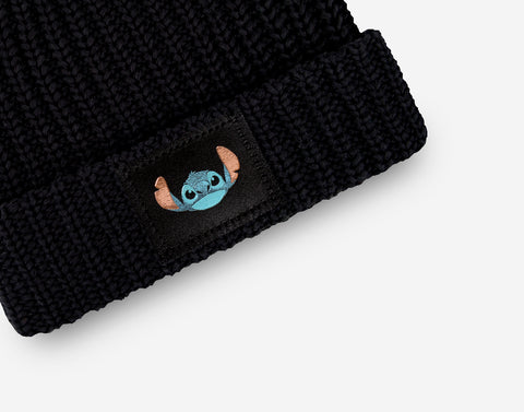 Stitch Kids Black Double Pom Beanie