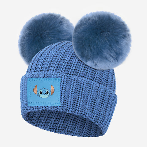 Stitch Kids Soft Blue Double Pom Beanie