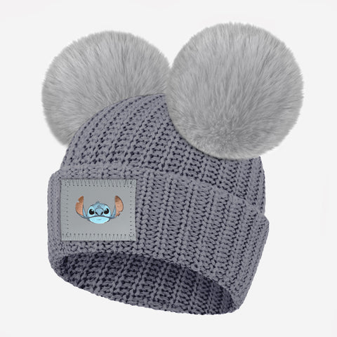 Stitch Kids Light Charcoal Double Pom Beanie