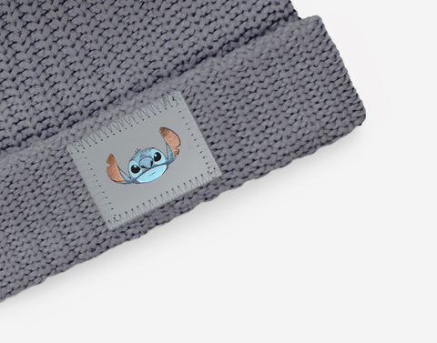 Stitch Light Charcoal Pom Beanie
