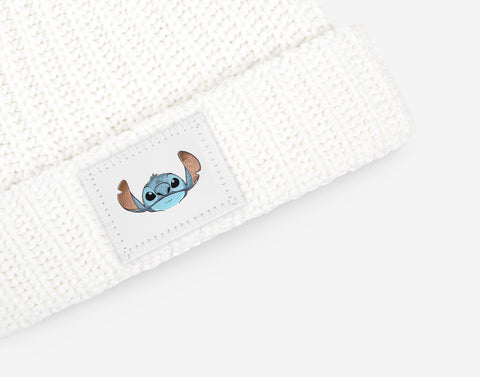 Stitch White Double Pom Beanie