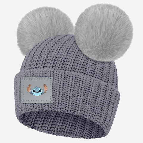 Stitch Light Charcoal Double Pom Beanie