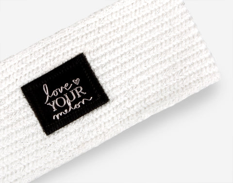 White Silver Metallic Yarn Knit Headband-Love Your Melon