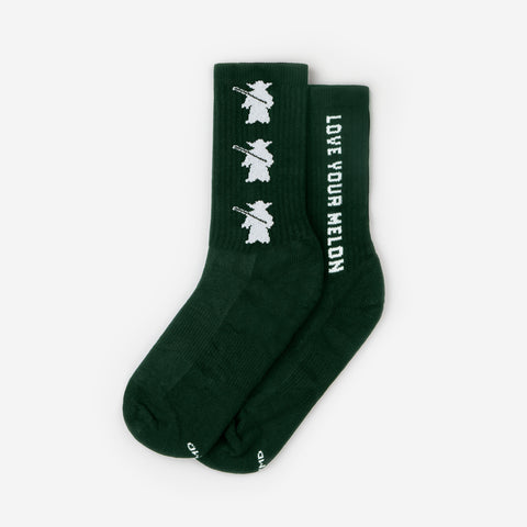 Star Wars Yoda Hunter Green Crew Socks