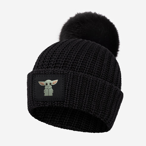 Star Wars The Child Kids Black Pom Beanie