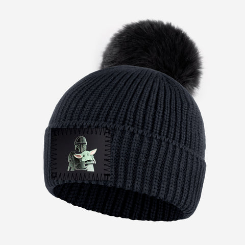 Pre-Order Star Wars Mandalorian and The Child Kids Dark Charcoal Lightweight Pom Beanie