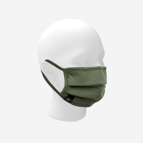Adult Olive Green Pleated Cotton Face Mask with Nose Piece
