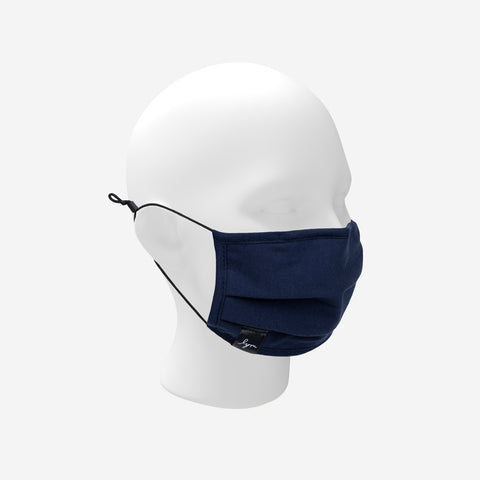 Adult Navy Adjustable Pleated Cotton Face Mask with Nose Piece