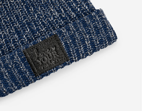 Navy Silver Metallic Yarn Double Pom Beanie (Black Diamond Patch)