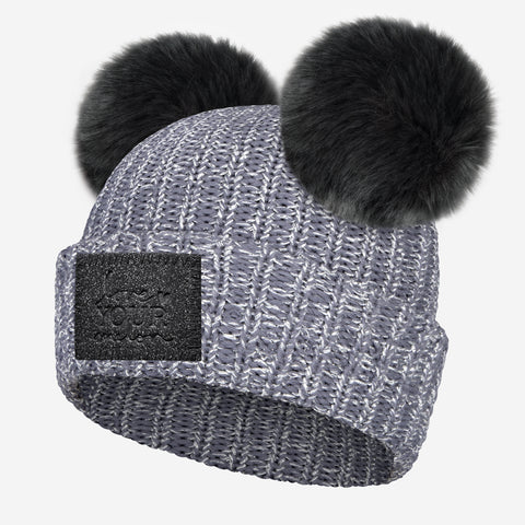 Light Charcoal Silver Metallic Yarn Double Pom Beanie (Black Diamond Patch)