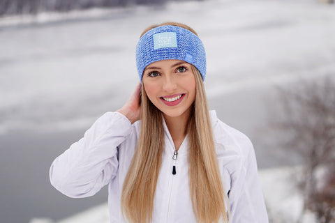 Soft Blue and White Speckled 37.5 Knit Headband