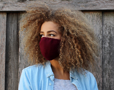 Adult Burgundy Cotton Seamless 3D Knit Face Mask