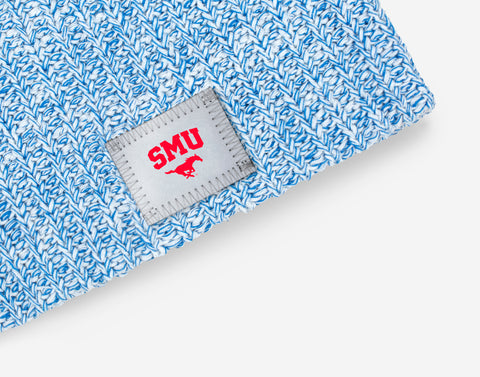 SMU Mustangs White and Blue Speckled Beanie