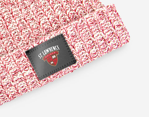 St. Lawrence Saints White and Red Speckled Pom Beanie (White Pom)