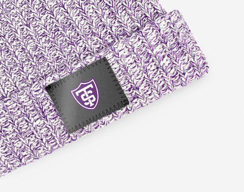 St. Thomas Tommies White and Purple Speckled Pom Beanie (White Pom)