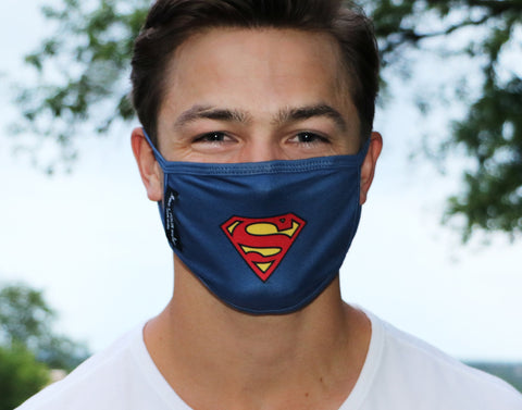Adult Superman™ Face Mask with Nose Piece + Filter Pocket