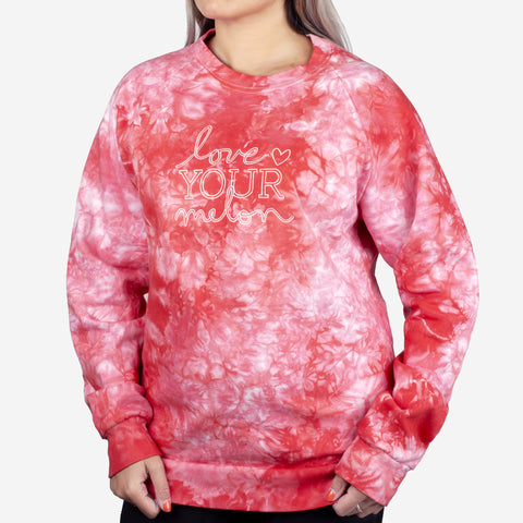 Red Tie Dye Crew Sweatshirt