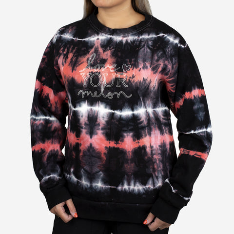 Black, Red, and White Tie Dye Crew Sweatshirt