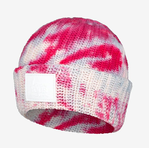 Pink and Blue Tie Dye Cuffed Beanie