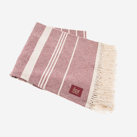 Burgundy Striped Throw-Accessory-Love Your Melon