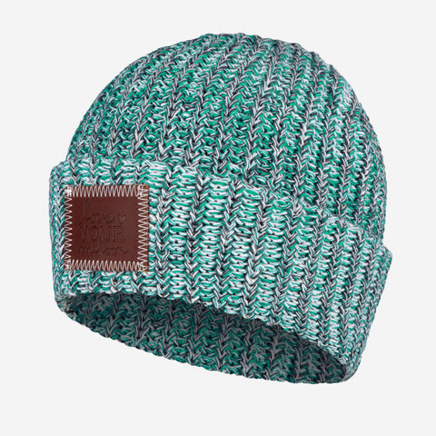 Teal, Black and White Cuffed Beanie