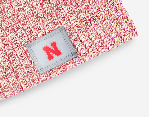 Nebraska Cornhuskers White and Red Speckled Beanie