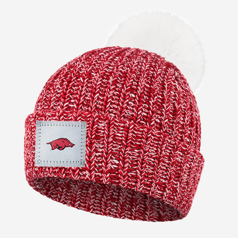Arkansas Razorbacks  Crimson and White Speckled Pom Beanie (White Pom)