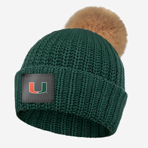 Miami Hurricanes Hunter Pom Beanie (Natural Pom)