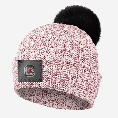 South Carolina Gamecocks Crimson Speckled Pom Beanie (Black Pom)