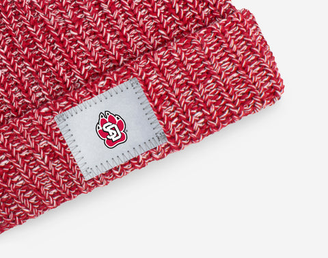 South Dakota Coyotes Crimson and White Speckled Pom Beanie (White Pom)
