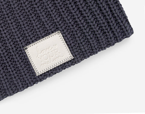 Dark Charcoal Beanie (Faux Leather Patch)-Beanie-Love Your Melon
